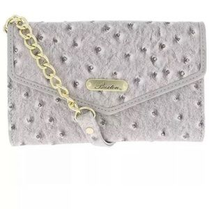 Buxton Ostrich Gray Small Flap Crossbody